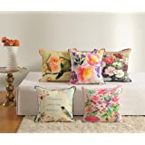 "Swayam Assorted Canvas 5 Piece Cotton Cushion Cover Set - 16""x16"", Multicolour"