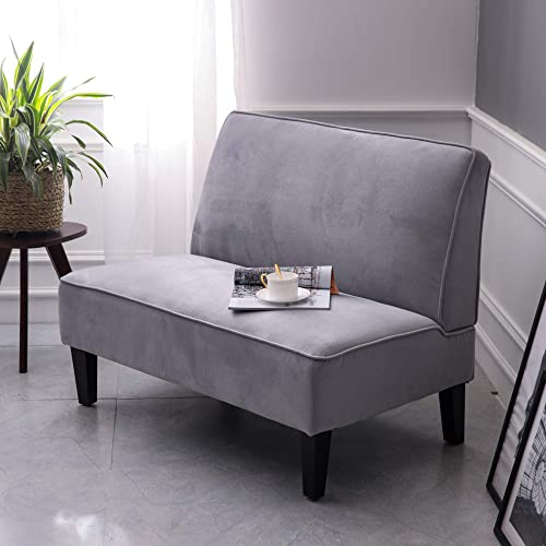 Cushioned Linen Armless Settee Loveseat Sofa Couch Home Casual Living Room Sleeper Light Gray