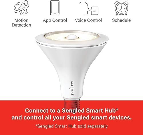 Sengled Smart LED with Motion Sensor, Hub Required, 3000K PAR38 Floodlight Daylight Sensor, Works with Alexa, Google Assistant SmartThings, 1 Pack Renewed