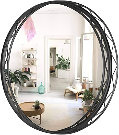 Amazon Com Vvk Black Round Wall Mirror 24 Inch Large Round Mirror Modern Accent Mirror For Bathroom Entry Dining Room Living Room Metal Black Round Mirror For Wall Vanity Mirror Large Circle