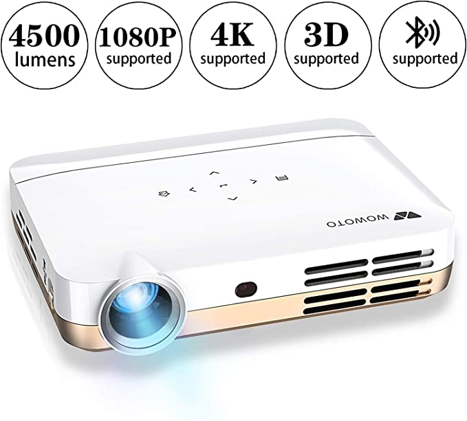 WOWOTO H10 Mini Video Projector Portable, DLP Android 6.0 Projector 4500 Lumen with WiFI Bluetooth Airplay HDMI USB Support 3D 4K 1080P Full HD for ...
