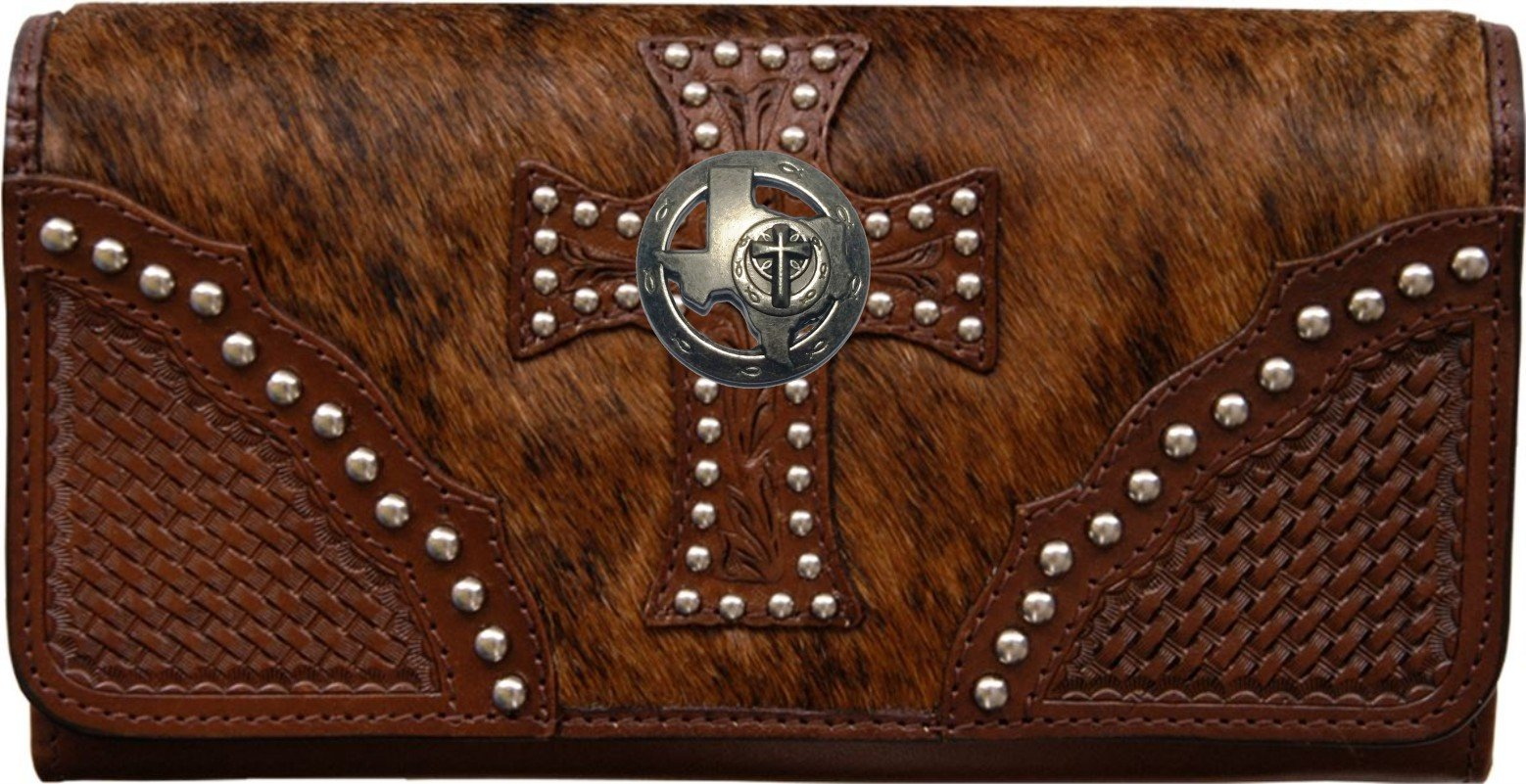 Custom Texas Christian Ichthys Natural Hair Christian Clutch Wallet with removable checkbook