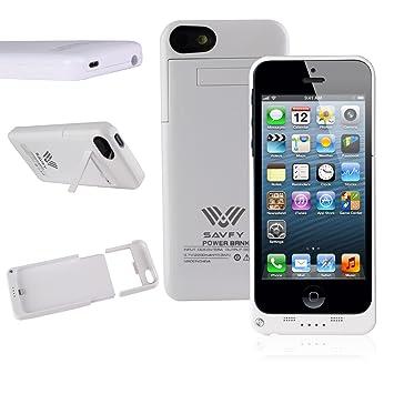 Funda Batería iphone 5 / 5s , SAVFY® Case carcasa Con Batería Cargador-batería Externa Recargable 2200mAh Para iPhone 5 / 5s (Blanco)