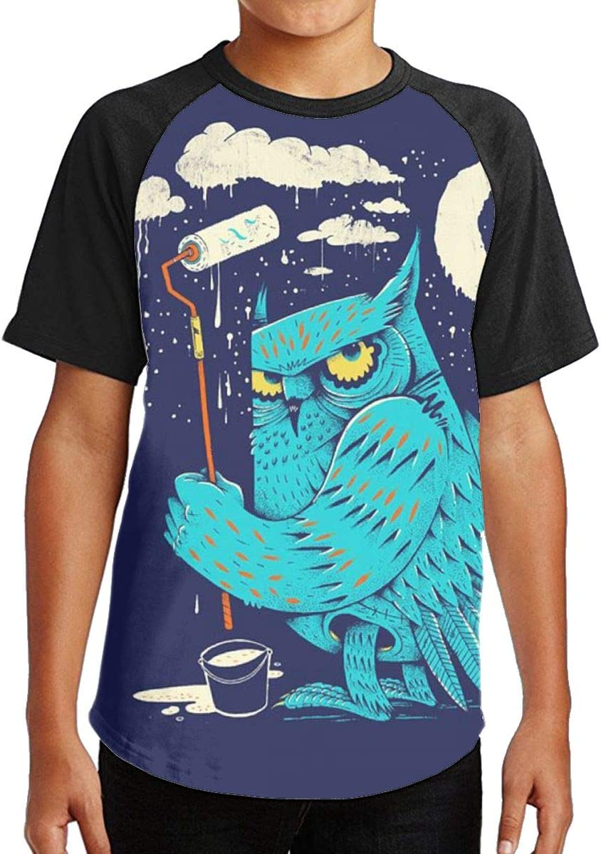 Blue Owl Youth Kids T Shirt 3D Printed Short Sleeve Crew Neck Tees Shirts for Boys Children