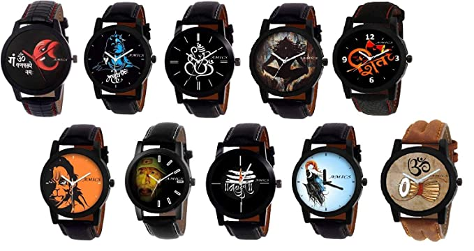 Amics New Stylish Mahakal-Shiv-Mahadev Watch| Ganpati Saibaba Shivay Print of 10 Leather Watch Combo for Men and Boys 2591