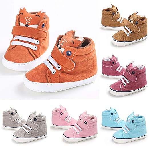 f1106082cbef Amazon.com  Guoainn Comfortable Baby Shoes Clearance Toddler Baby Boys Girls  Cartoon Fox High Cut Sneakers Anti-slip Prewalker Shoes  Clothing