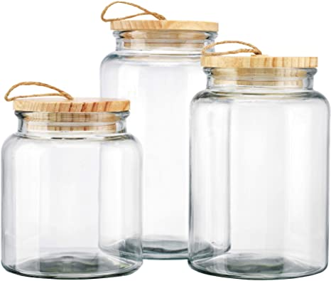 Clear Glass Food Snacks Canisters Sets,Kitchen Storage Jar Sets With Metal  Lid With Wide Mouth - Buy Clear Glass Storage Jars With Metal Lid,Wide ...
