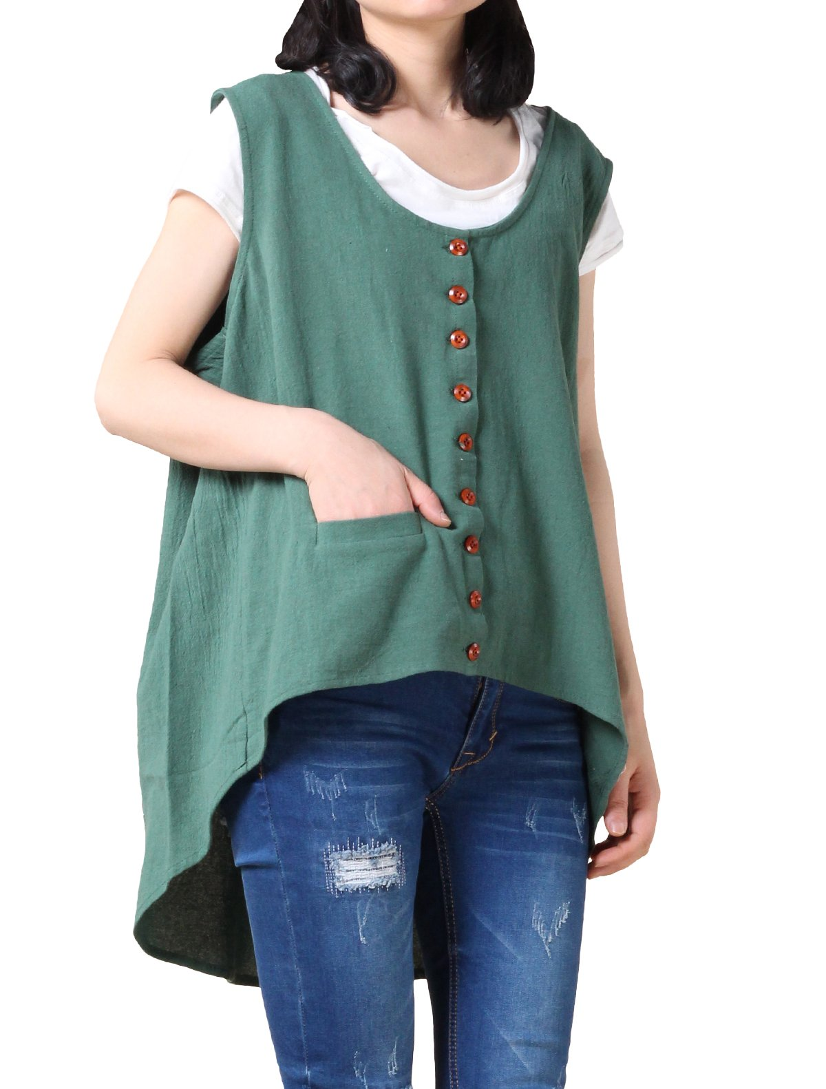 Mordenmiss Women's New Sleeveless Hi-Low Vest Tops Lightweight Jacket with Pockets Style 1 L Green