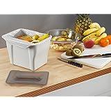 Wesco Kitchen Box, hellgrau mit Deckel in grau-transparent, Multifunktions Abfallbehälter, Bio Mülleimer, Abfallsammler zum Hinstellen oder zum Anhängen, 5 Liter,