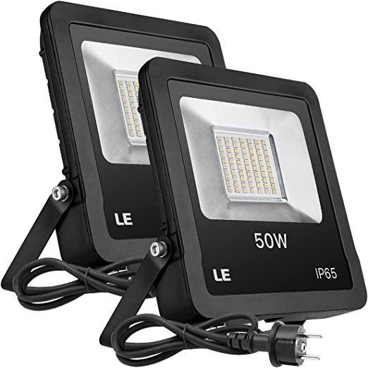 LE Foco LED Exteriores Proyector, 50W Blanco Cálido 4000lm, Resistente al Agua IP65, Luces LED para Jardín Terraza Fachada etc. Pack de 2: Amazon.es: Iluminación