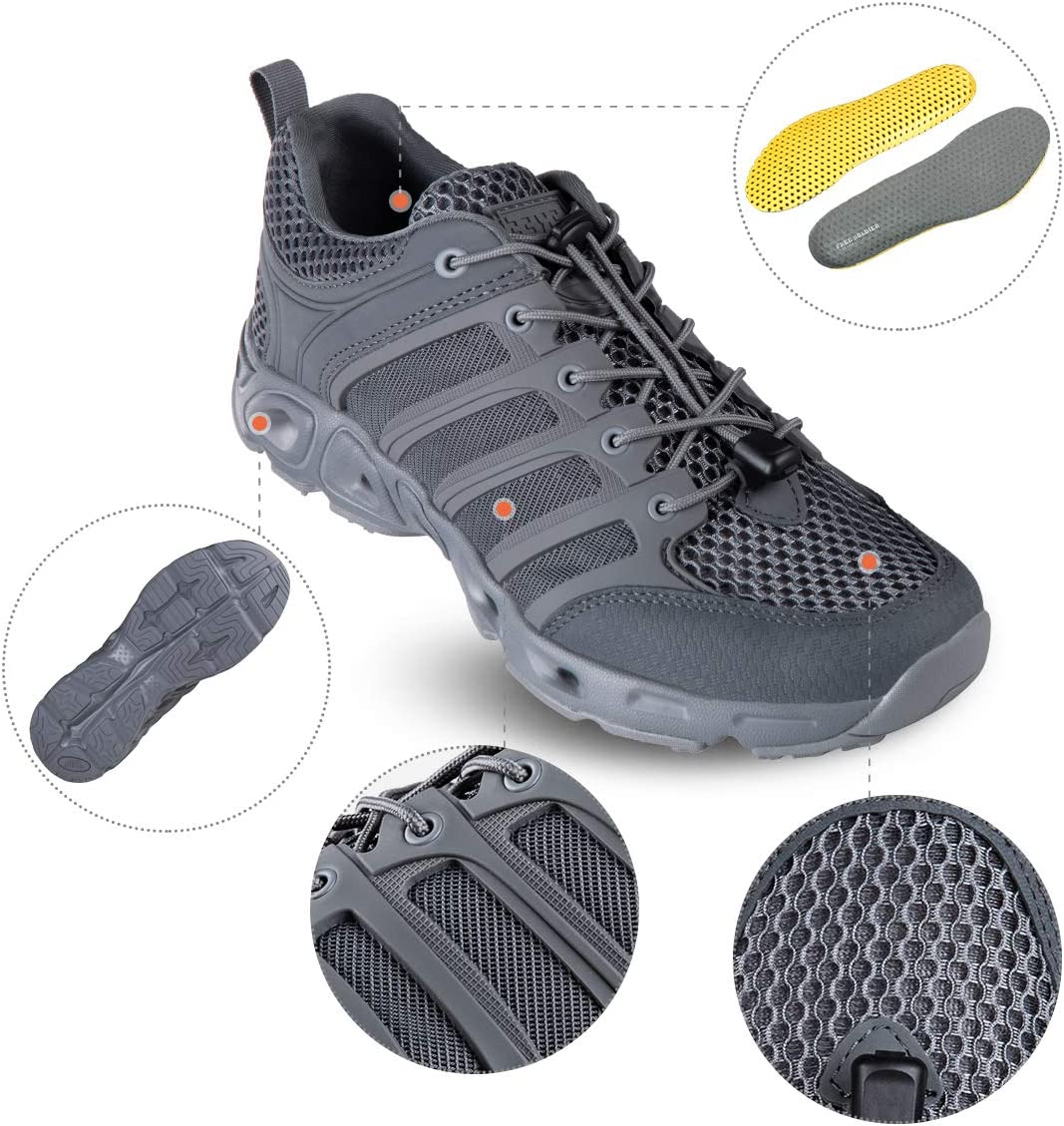 FREE SOLDIER Outdoor Mens Quick Drying Lightweight Sport Hiking Water Shoes
