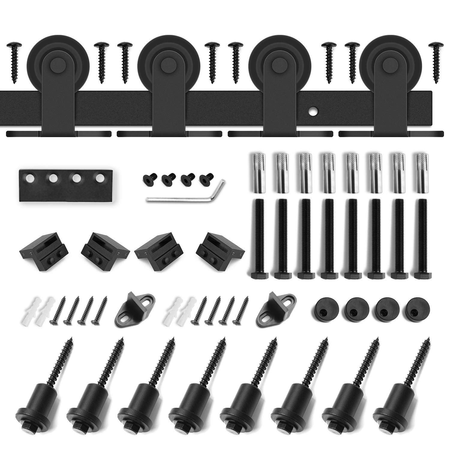 10ft Heavy Duty Sturdy Double Door Sliding Barn Door Hardware Kit - Super Smoothly and Quietly - Simple and Easy to Install - Includes Step-by-Step Instruction -Fit 30'' Wide Door Panel(T Shape Hanger) by SMARTSTANDARD (Image #3)