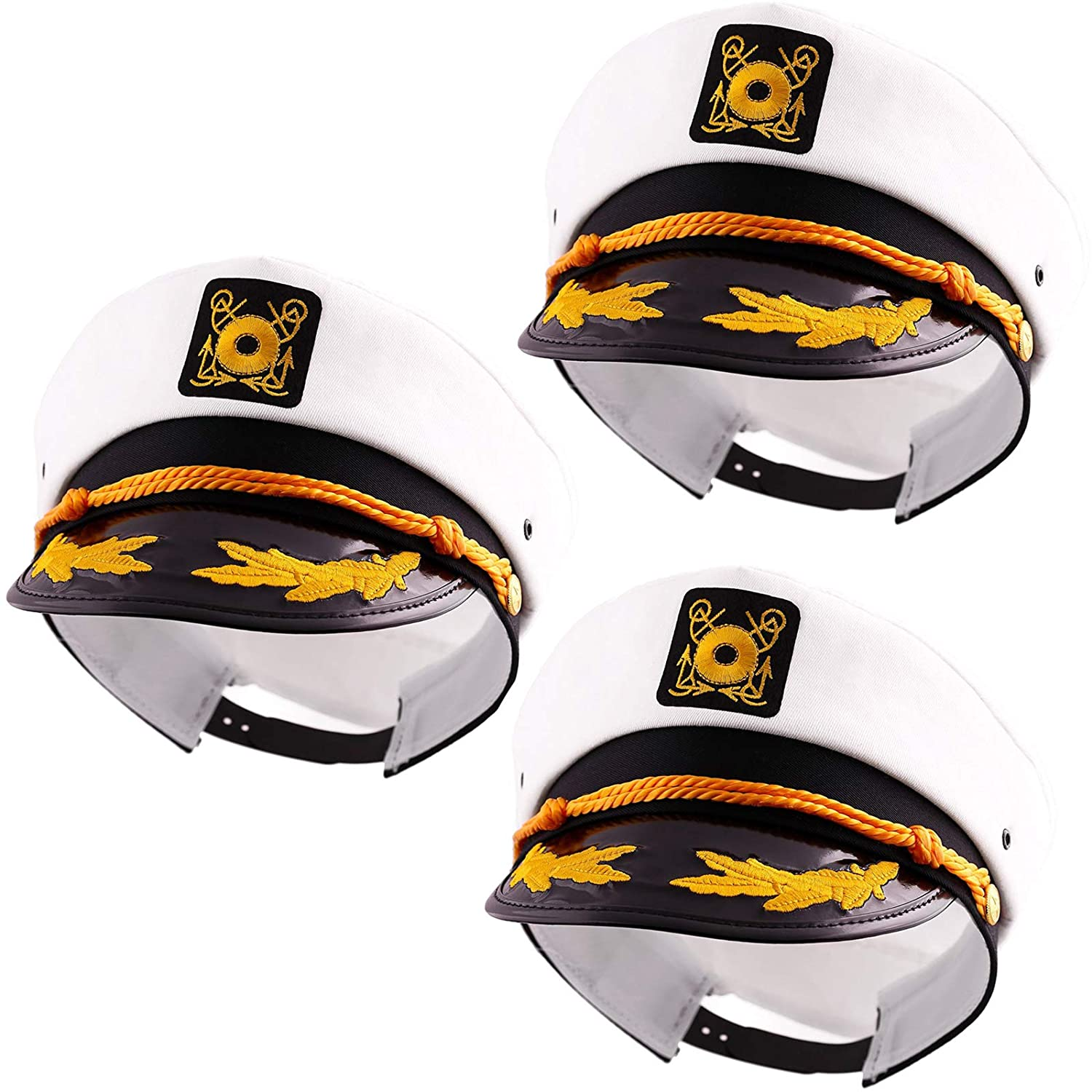 Captain's Yacht Sailors Hat Snapback Adjustable Sea Cap NAVY Costume Accessory (3 Pcs. Set)