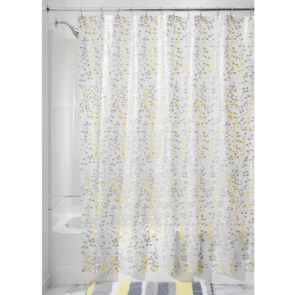 InterDesign Botanical EVA/PEVA Waterproof Curtain for Shower, Made of EVA, Green/White Floral Pattern, 183.0 x 183.0 cm 32480