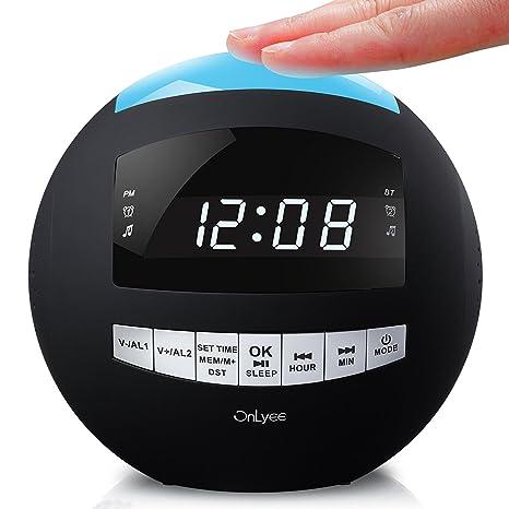 onlyee Radio Reloj Despertador Digital y Regulable inalámbrico Altavoz Bluetooth con Am FM, AUX,