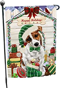 Happy Holidays Christmas Jack Russell Terrier Dog House with Presents Garden Flag GFLG51445