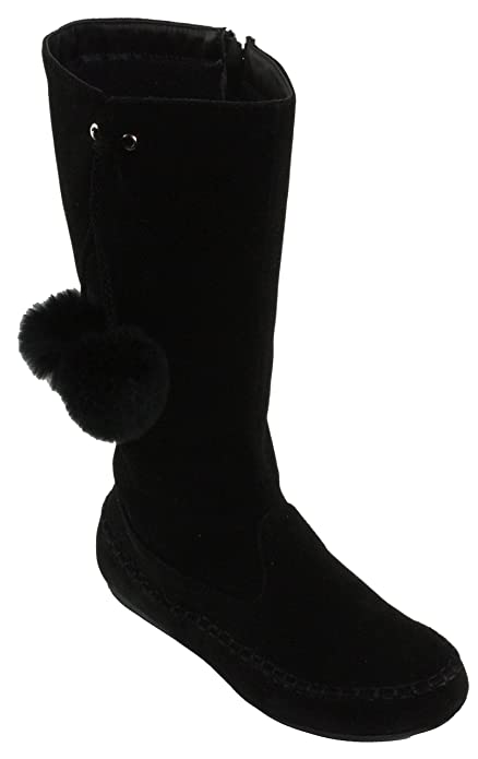 Women's Faux Suede Pom Pom Decor Mid-Calf Flat Boots Klein-99