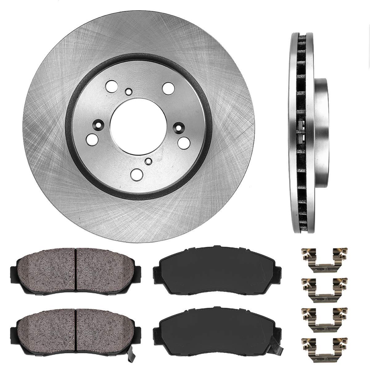For Honda Accord Crosstour Front Rear Black Drilled Brake Rotors+Ceramic Pads