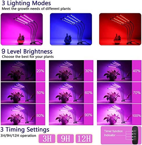Grow Light for Indoor Plants, LAIDUOAO 4 Adjustable Goose Necks 40W 80 LED Lamps 9 Dimmable Levels Grow Light for Indoor Plants Light with Clip Growing Lamp with 3 9 12H Timer with Pruning Shears