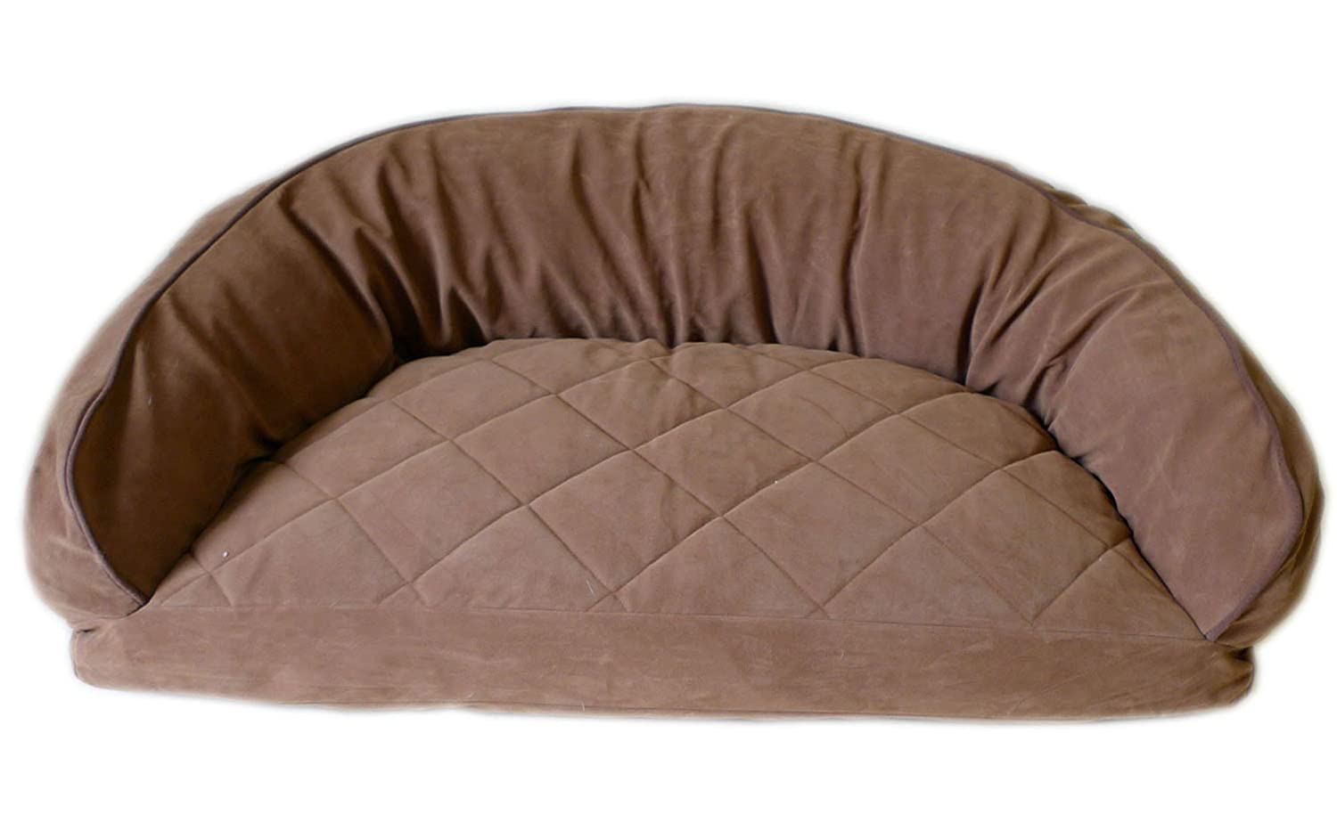 42 X 27 X 12\ Carolina Pet 02174 CPC Diamond Quilted Semi Circle Saddle Lounge for Dogs and Cats with Chocolate Piping, 42 X 27 X 12, Green