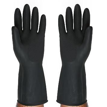 SAFEYURA Multipurpose Natural Gum Rubber Reusable Cleaning Gloves (Black, 9.5 Inch)