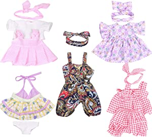 XADP 5 Pack Baby Doll Clothes Outfits with Hair Bands for 12 Inch Alive Baby Dolls,and Other Similar 11 Inch to 13 Inch New Born Baby Dolls,Set of 5