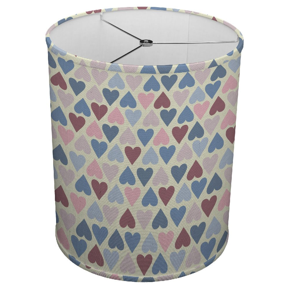 Hardback Linen Drum Cylinder Lamp Shade 8'' x 8'' x 8'' Spider Construction [ Colorful Hearts Love ]