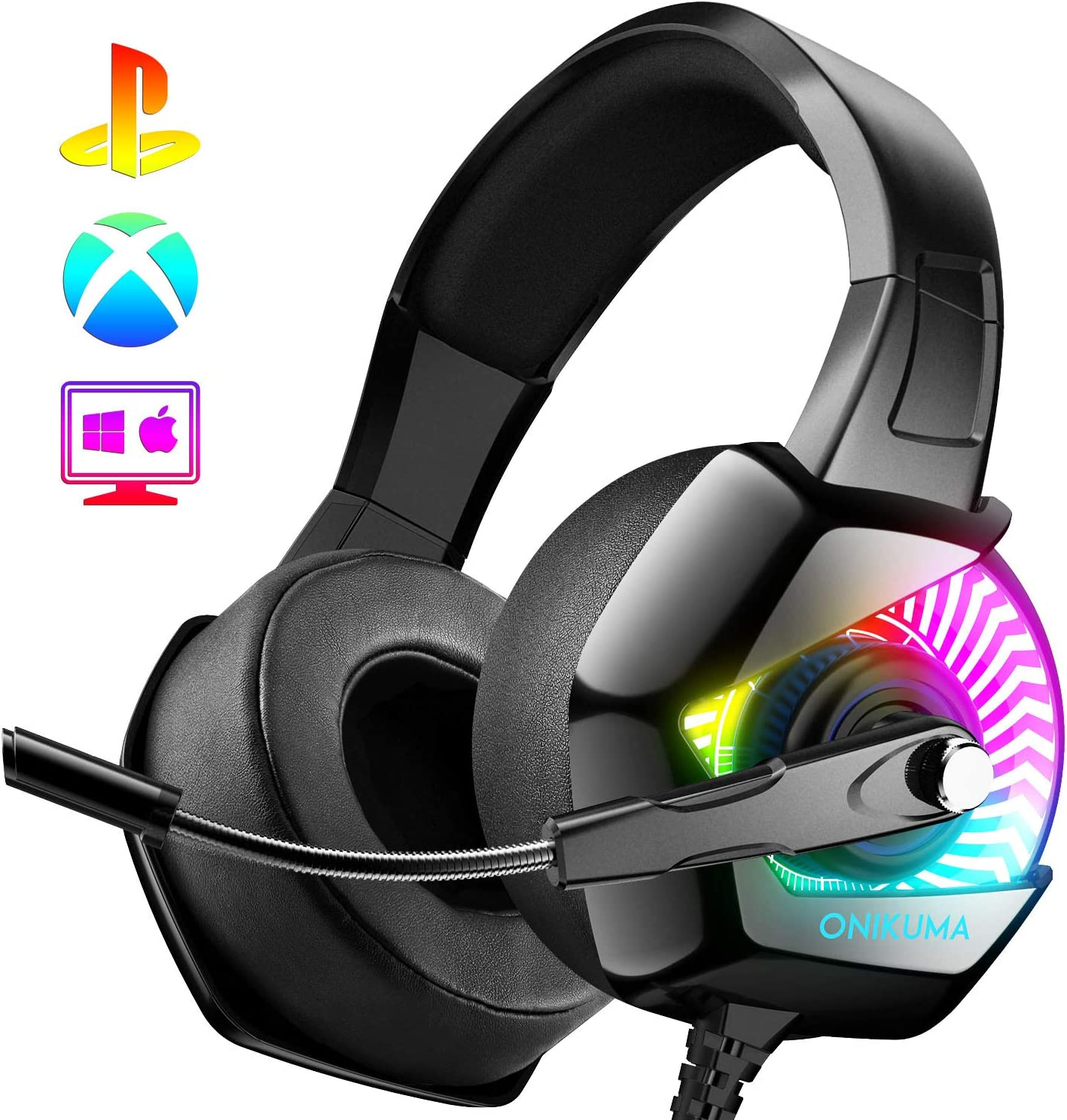 ONIKUMA Gaming Headset-PS4 Headset with Mic, 7.1 Surround Sound & RGB LED Light,Gaming Headphones PC Headset with Noise Canceling for PS4, PC, Mac, Super Nintendo, Xbox One (Adapter Not Included)