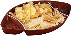 Plastic Football Snack Tray with 2 dip sections - Sports Party Supplies