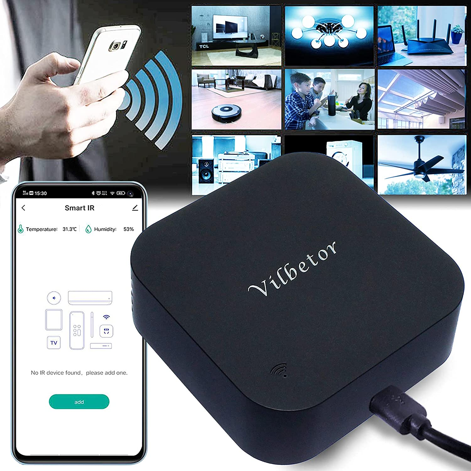 Vilbetor TUYA WiFi Smart IR Remote Controller with Temperature and Humidity Sensor, Operate by Tuya App Smart Life, Compatible with Alexa & Google Home, for Air Condition, TV, Fan, Curtain