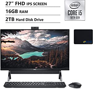 "Dell 2020 Inspiron 7000 All-in-One Desktop 27"" FHD IPS Display, Intel i5-10210U, 16GB DDR4 Memory, 2TB HDD, HDMI, WiFi, Webcam, Wireless Keyboard, KKE Mousepad, Win10 Home, Black"
