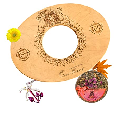 Sama Handcraft Yoni Seat and Herbs (4oz) in a Luxury package-Devi steam wooden SEAT with engraved pictures of Goddess Yoga and Muladhara - COMBO ...