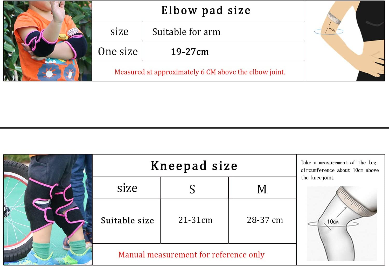 EULANT Sports Knee and Elbow Pads for Kids Adjustable Protective Set for Biking Cycling Bicycle Riding Rollerblading Skating Skateboarding