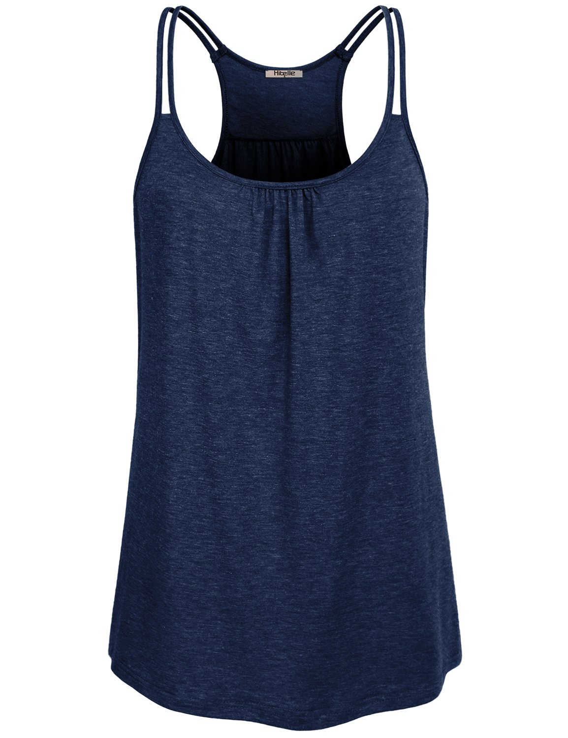 Hibelle Long Tank Tops for Women, Ladies Special Strapys Camisoles Racerback Pleated Front Behind U Neck Tunics A Line Curved Hem Beautiful Clothing Quick Dry Walking Shirts Blue Large