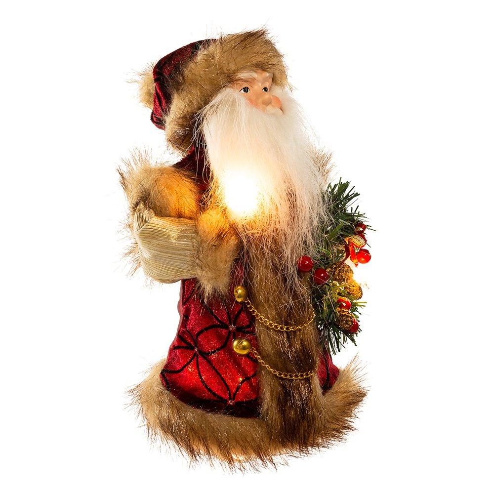 Kurt Adler 10-Light Burgundy and Brown Santa Treetop, 10-Inch UL1090