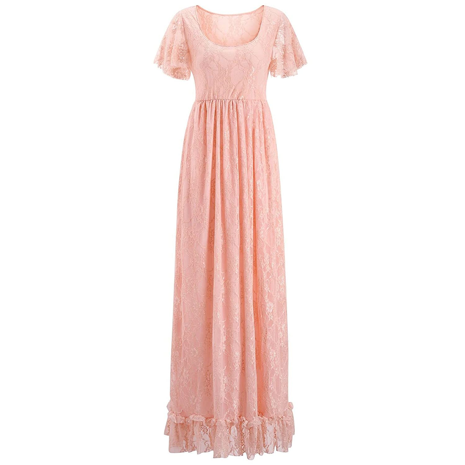 Nilover Women's Maternity Long Dress Transparent Floral Lace Raw Edge Deep V Photography Dress