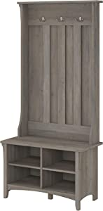 Bush Furniture Salinas Hall Tree with Shoe Storage Bench in Driftwood Gray