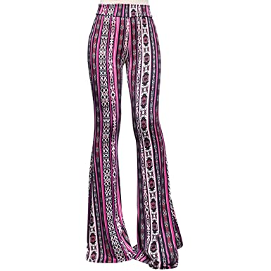 b2a85277d8 ShopMyTrend SMT Women's High Waist Wide Leg Long Bell Bottom Yoga Pants  Small Arrows Tribe Fuchsia