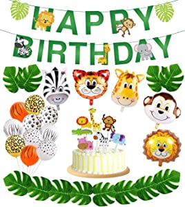 Jungle Safari Party Supplies,Jungle Animal Decorations, Safari Zoo Animals Happy Birthday Banner, Animal Balloons and Animal Cake Toppers for Jungle Safari Zoo Theme Birthday Party Decorations.