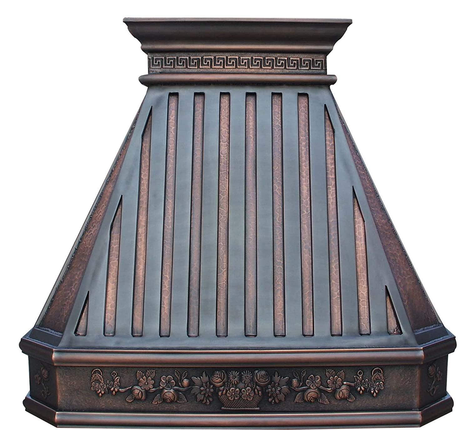 Copper Kitchen Stove Hood with Decorative Patterns Wrapped Around Comes with Powerful Stainless Steel Vent and Baffle Filter Sinda H14TR