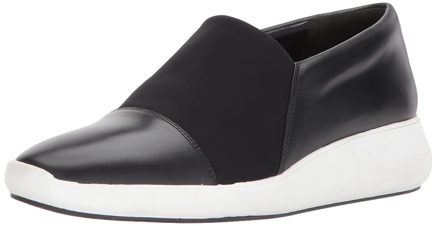 Via Spiga Women's Morgan Slip Sneaker B074CYWPGX 8.5 M US|Black Leather/Black Neoprene