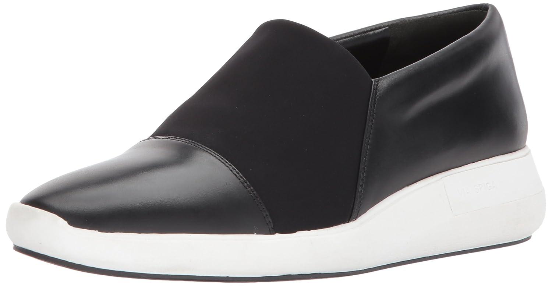 Via Spiga Women's Morgan Slip Sneaker B074CYLH36 5.5 M US|Black Leather/Black Neoprene
