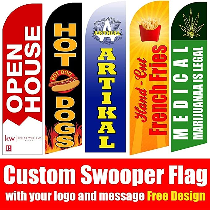 Signworld Custom 16 Advertising Swooper Flag with Ground Spike