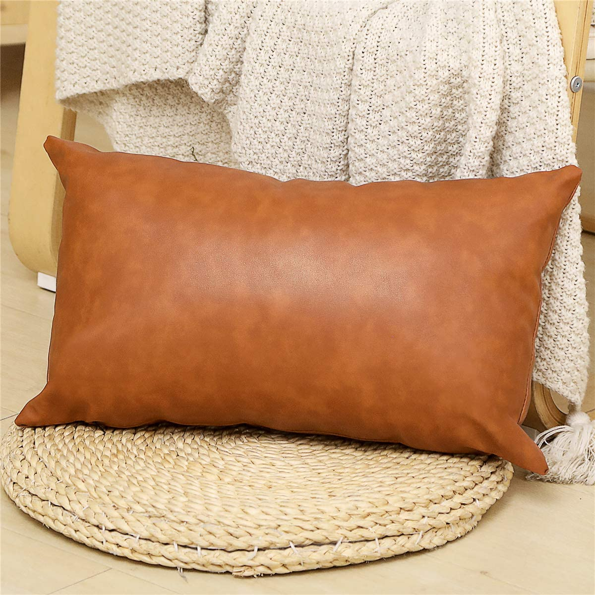Amazon Com Seeksee Faux Leather Lumbar Pillow Cover 12x20 Inch Modern Country Style Decorative Lumbar Pillow For Bedroom Living Room Sofa Brown Accent Pillows Home Kitchen
