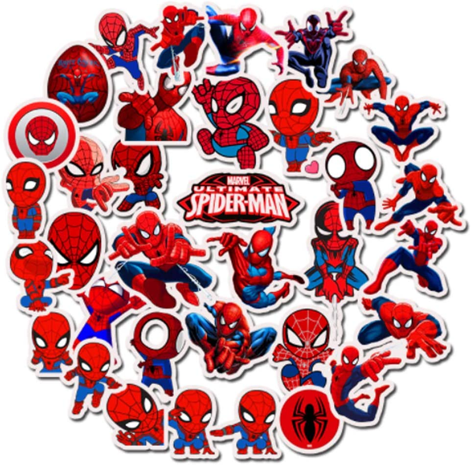 35 Spider Man Stickers for Child,Marvel Waterproof Vinyl Stickers for Laptop, Luggage, Skateboard, Water Bottle,Cars, Guitar, Phone, Water Bottles,Cute Trendy