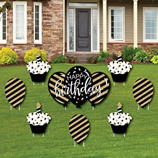 product image for Big Dot of Happiness Adult Happy Birthday - Gold - Cupcake and Balloon Yard Sign & Outdoor Lawn Decorations - Birthday Yard Signs - Set of 8