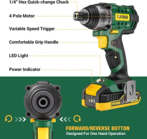 Impact Driver, 20V POPOMAN 1600In-lbs Cordless Impact Drill, 1 4 All-metal Hex Chuck, 0-2900RPM Variable Speed, 2000mAh Battery, 2.0A Fast Charger, 6Pcs Accessories, Tool Bag Included