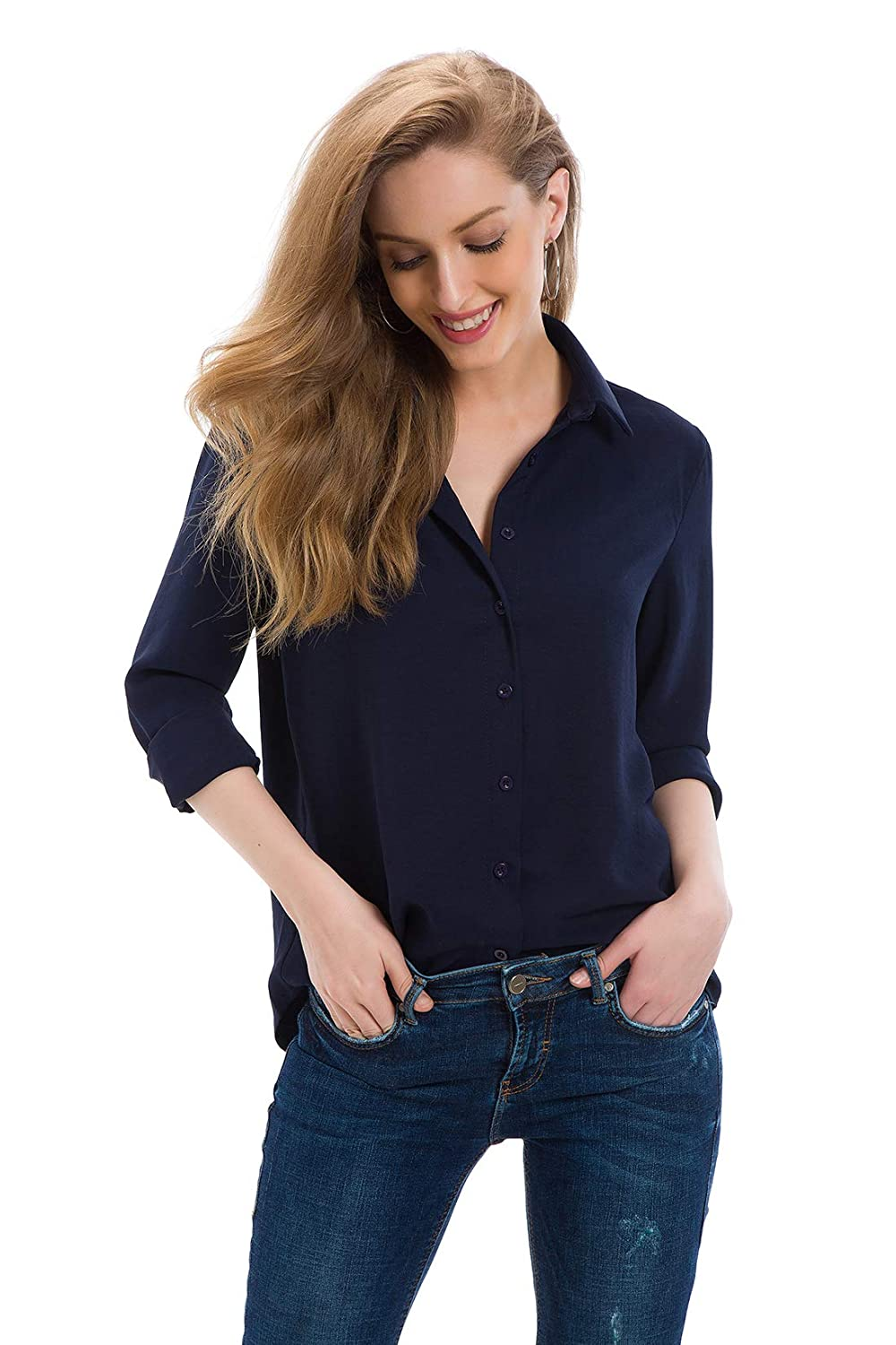 e3b73010701a94 Cantonwalker Women's Long Sleeve Shirt Loose Casual Professional Button  Blouse for Women 5005 at Amazon Women's Clothing store: