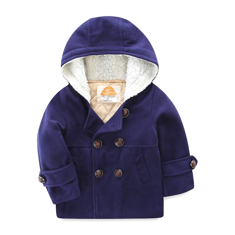 Mud Kingdom Boys Wool Coats with Fur Hood Size 6 Navy