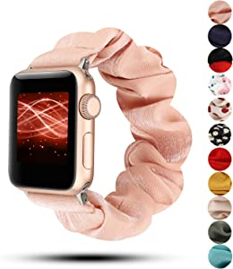 Women Scrunchie Bands Compatible for Apple Watch Band 38mm 40mm 42mm 44mm,Cute Pattern Printed Bracelet Replacement Wristbands for iWatch Series 5 4 3 2 1 (Tobacco Powder, 42/44mm)